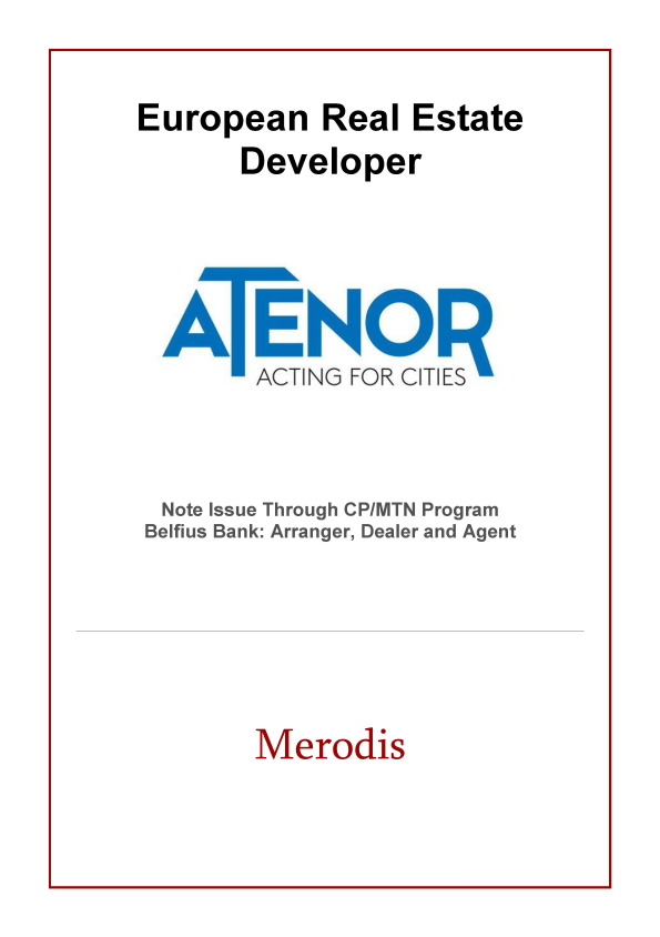 Merodis acts as Arranger in the private placement of a EUR5m 5Y Note for Atenor