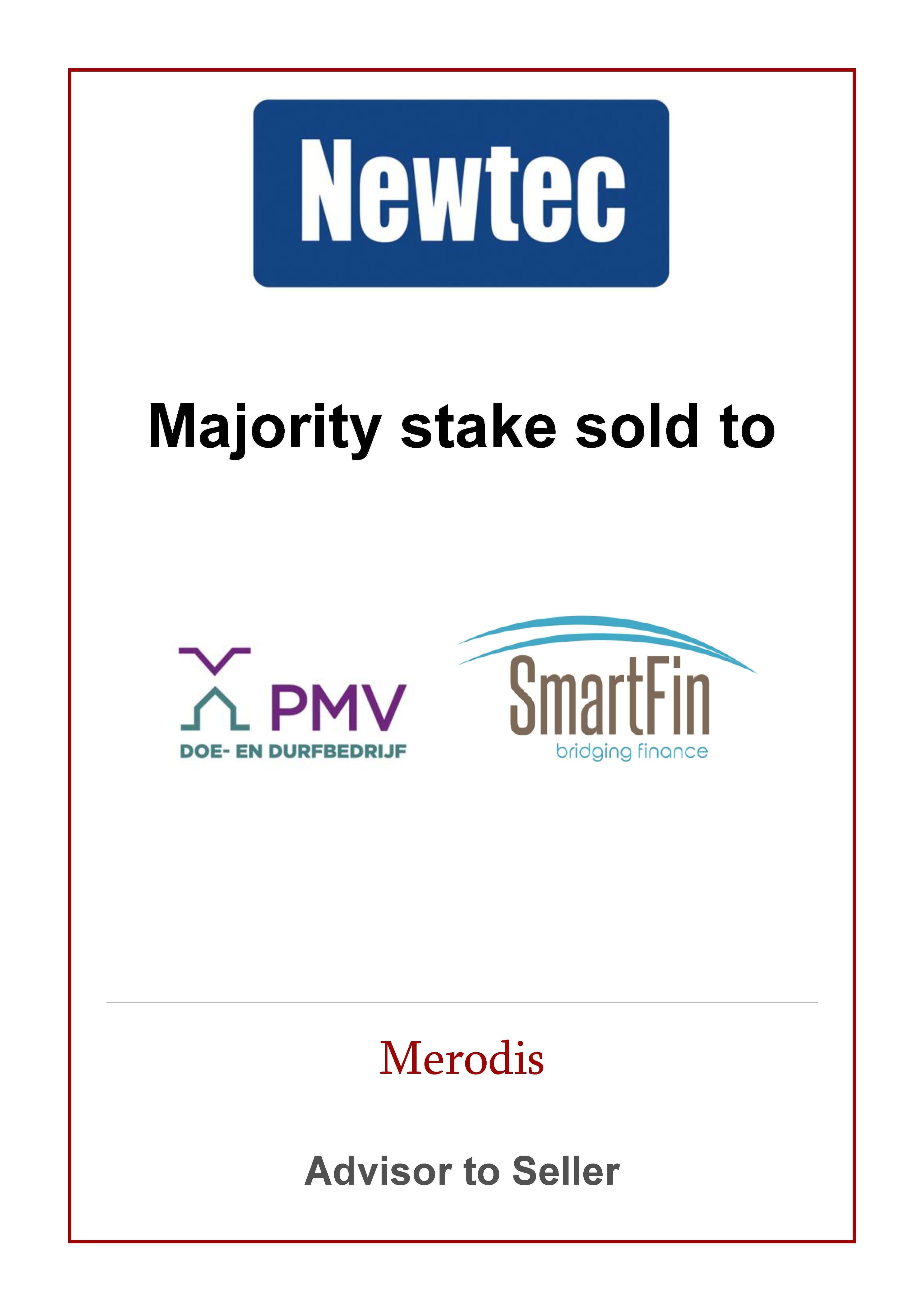 Merodis advises sale of majority stake in Newtec to PMV-Smartfin.
