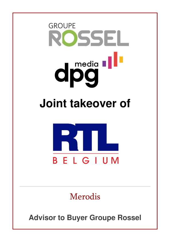 Merodis advises Groupe Rossel on the joint takeover of RTL Belgium