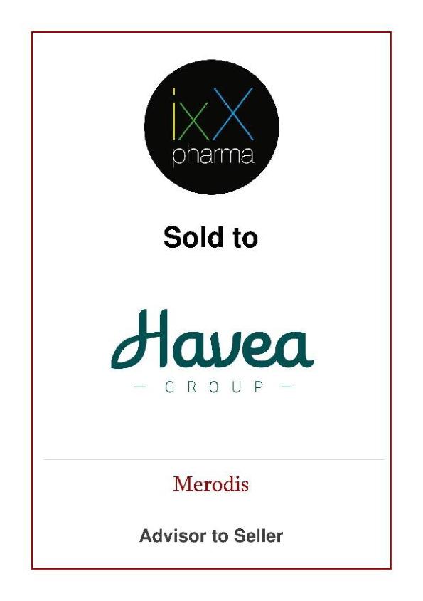 Merodis advised ixX Pharma shareholders on the sale to Havea